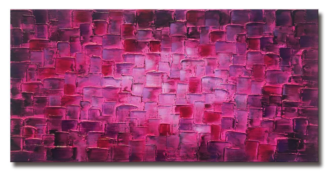 Large Abstract Purple Square Wall Art Hand Painted Textured Oil Painting on Canvas Ready To Hang 60x30inch
