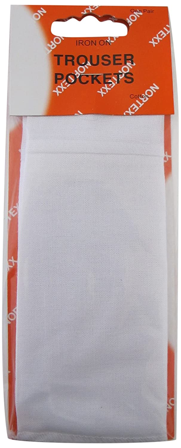 1 PAIR NORTEXX FULL LENGTH REPLACEMENT TROUSER POCKETS IN WHITE