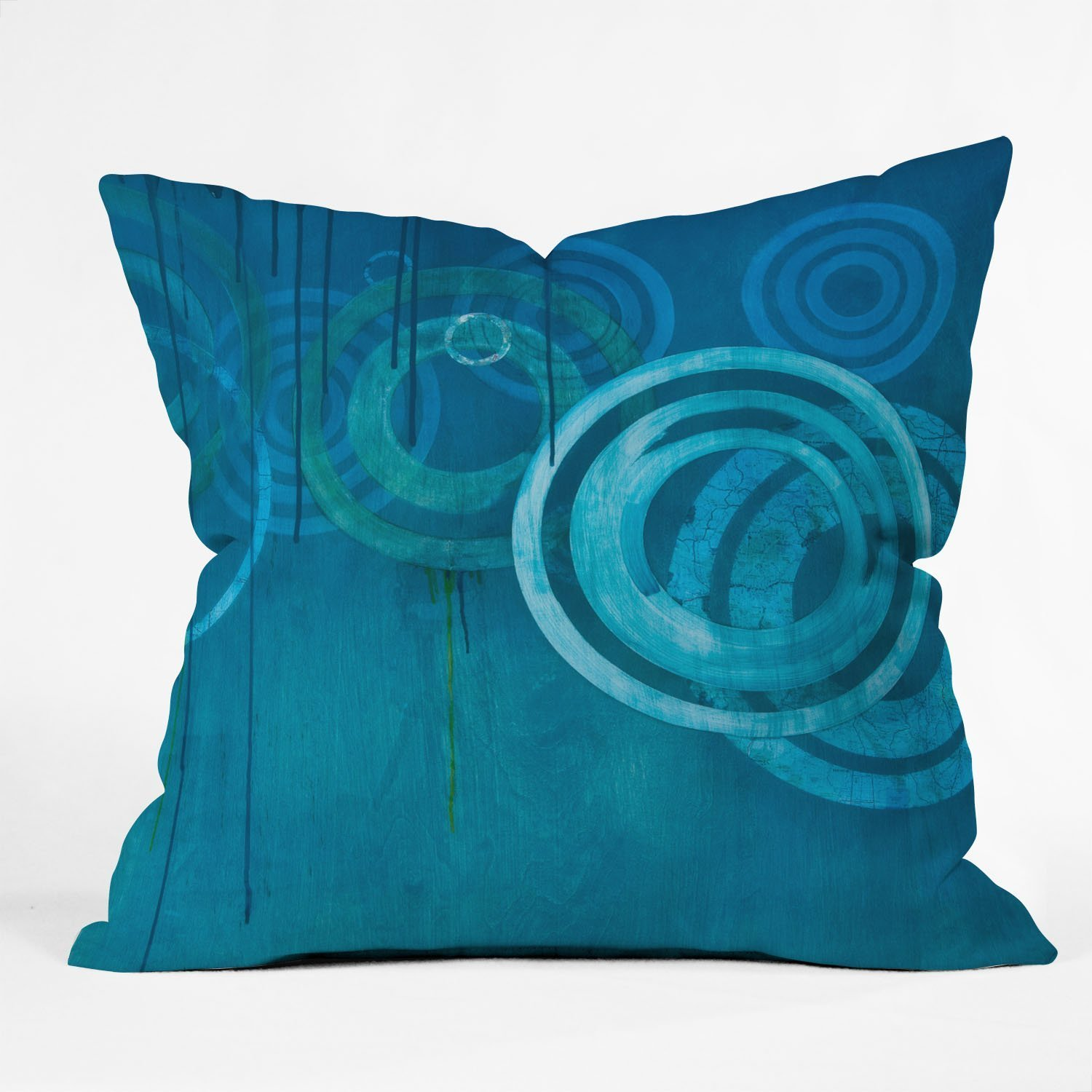 Deny Designs Stacey Schultz Circle World Green Throw Pillow 16 x 16 13715-thpo16