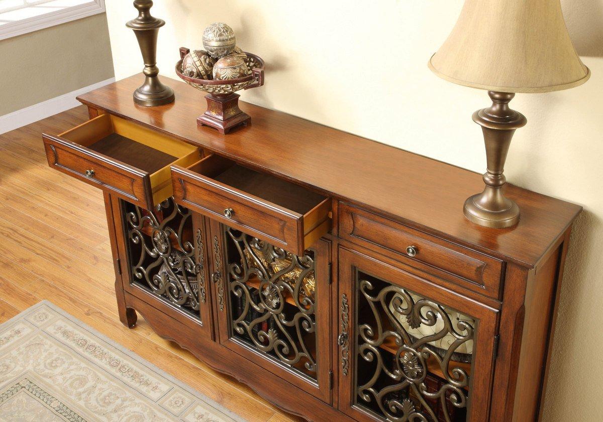 Charmant Amazon.com   Wood Walnut 3 Door Scroll Console Table, Sideboard   Buffets U0026  Sideboards