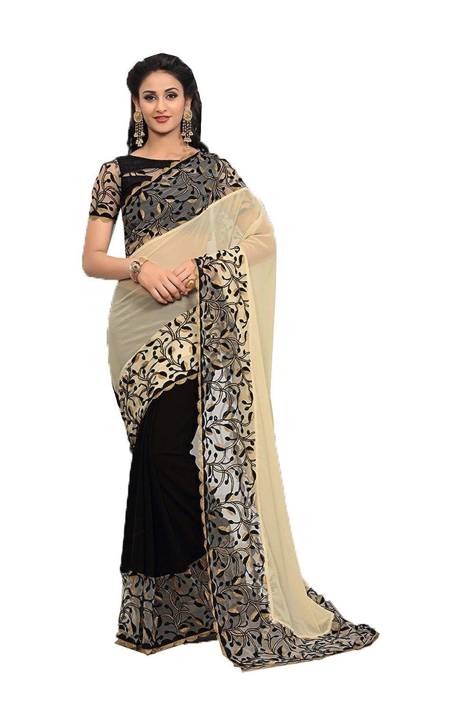 Beige daindiashopUSA Indian Sarees for Women Partywear Ethnic Traditional Designer Sari