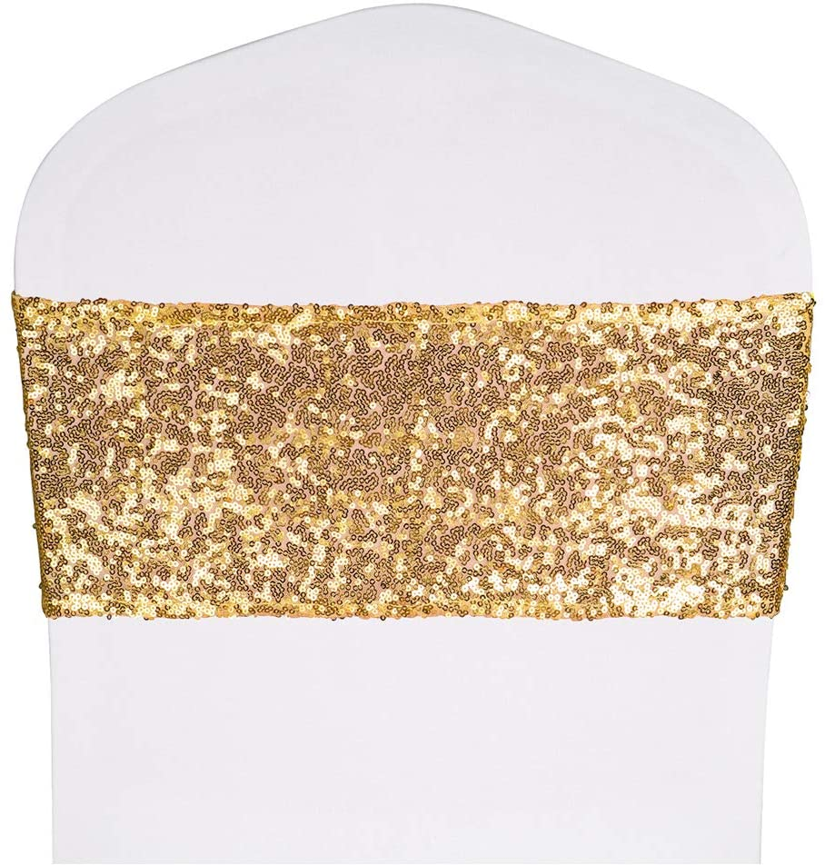 """Desirable Life Pack of 50 Stretch Sequin Chair Sashes Chair Bands One-Sided Sequins Decor for Hotel Wedding Reception Party Event Chair Cover Decoration 4""""x16"""" - Light Gold"""