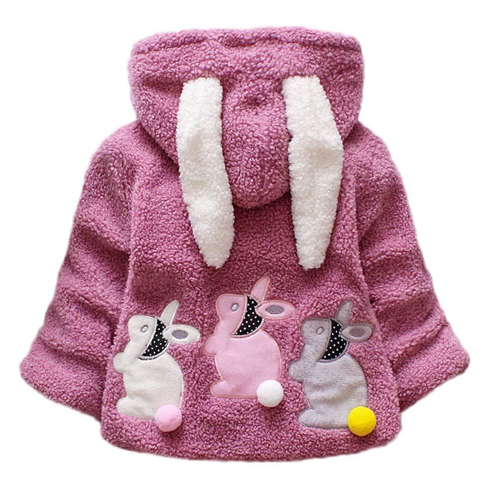FeiliandaJJ Baby Mädchen Mit Kapuze Fleece Jacke Säugling Kinder Winter Cute Kaninchenohr Zipper Dicke Warme Coat Mantel Outerwear