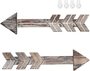 Urban Deco Arrow Décor Set Of 2 Brown Hanging Rustic Arrows Wall Mounted Wood Arrow Sign Holder For Home Farmhouse Living Room Kitchen Dining Bedroom Bathroom (2 Rustic Brown Wood Arrows)