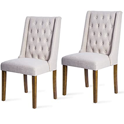 Awe Inspiring Harper Bright Design Dining Chair Wing Back Dining Room Furniture Tufted Upholstered Leisure Chair Beige Pabps2019 Chair Design Images Pabps2019Com