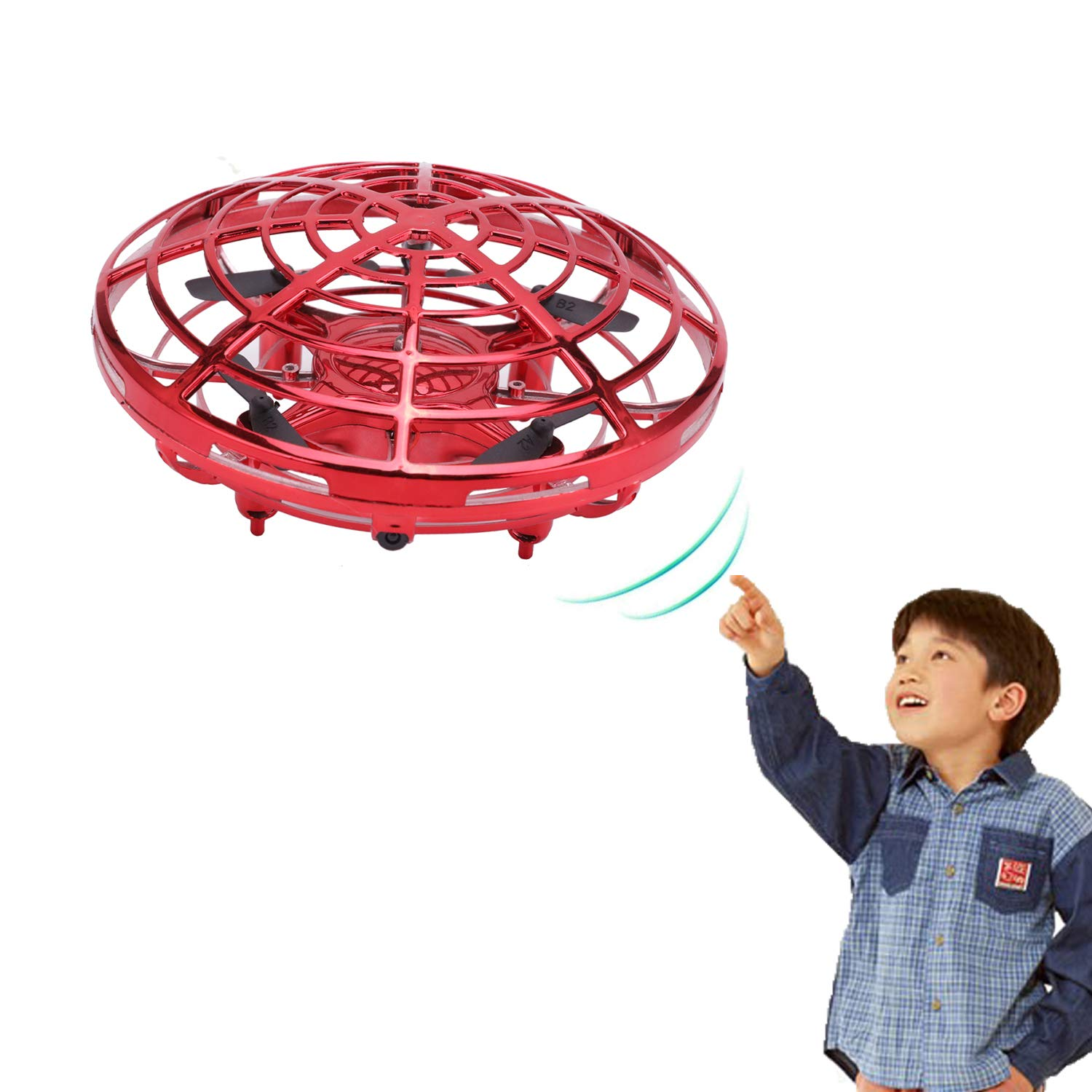 Greatstar Mini Drone Flying Toy, Quadcopters Flying Ball, Magic Hand-Controlled Flying Ball Interactive Infrared Induction Helicopter Ball with 360°Rotating and Shinning LED Lights (Red)