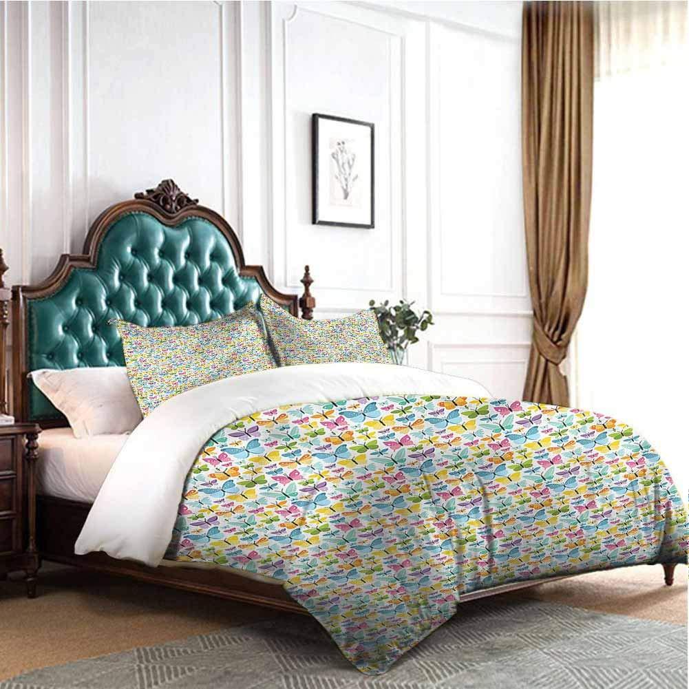 Jktown Butterfly 3 Pieces Duvet Cover Set Multicolor Butterflies Bedding Set for Men, Women, Boys and Girls Twin