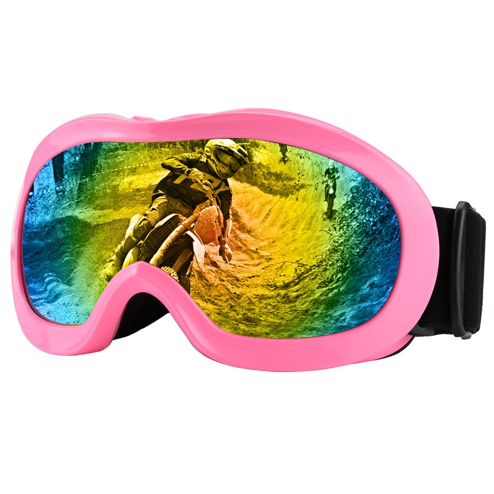 Zdatt Motorcyle Riding Goggles Kids - Dirtbike ATV Glasses Youth with Double Lens UV Protection Kits for Outdoor Activity Sports (Pink)