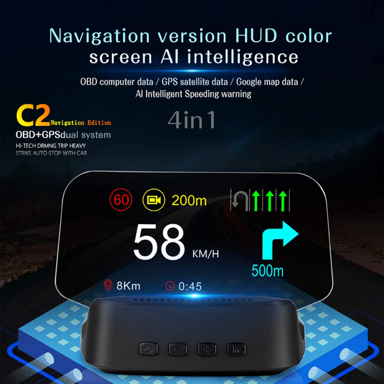 6 HUD Car Display with OBD GPS Dual System Speedometer Mileage Diagnostic Tools Read Data Flow Fault Alarm Fault Clearing,5 Modes Suspended Virtual and Navigation Function Head Up Display