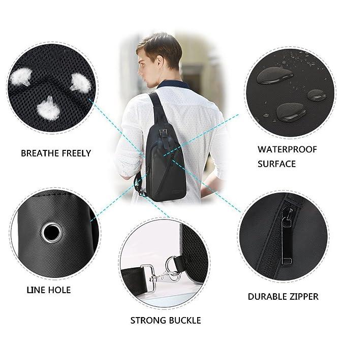 5f4e3d082ab3 Amazon.com  Stuo Men s Sling Bag Headphone Port Waterproof Crossbody  Shoulder Bag Outdoor Cycling Messenger Chest Bag Black  Computers    Accessories