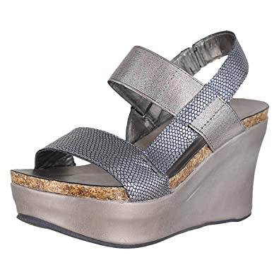 727caf7129d Pierre Dumas Hester-8 Pewter Womens Wedge Sandals Size 8.5M