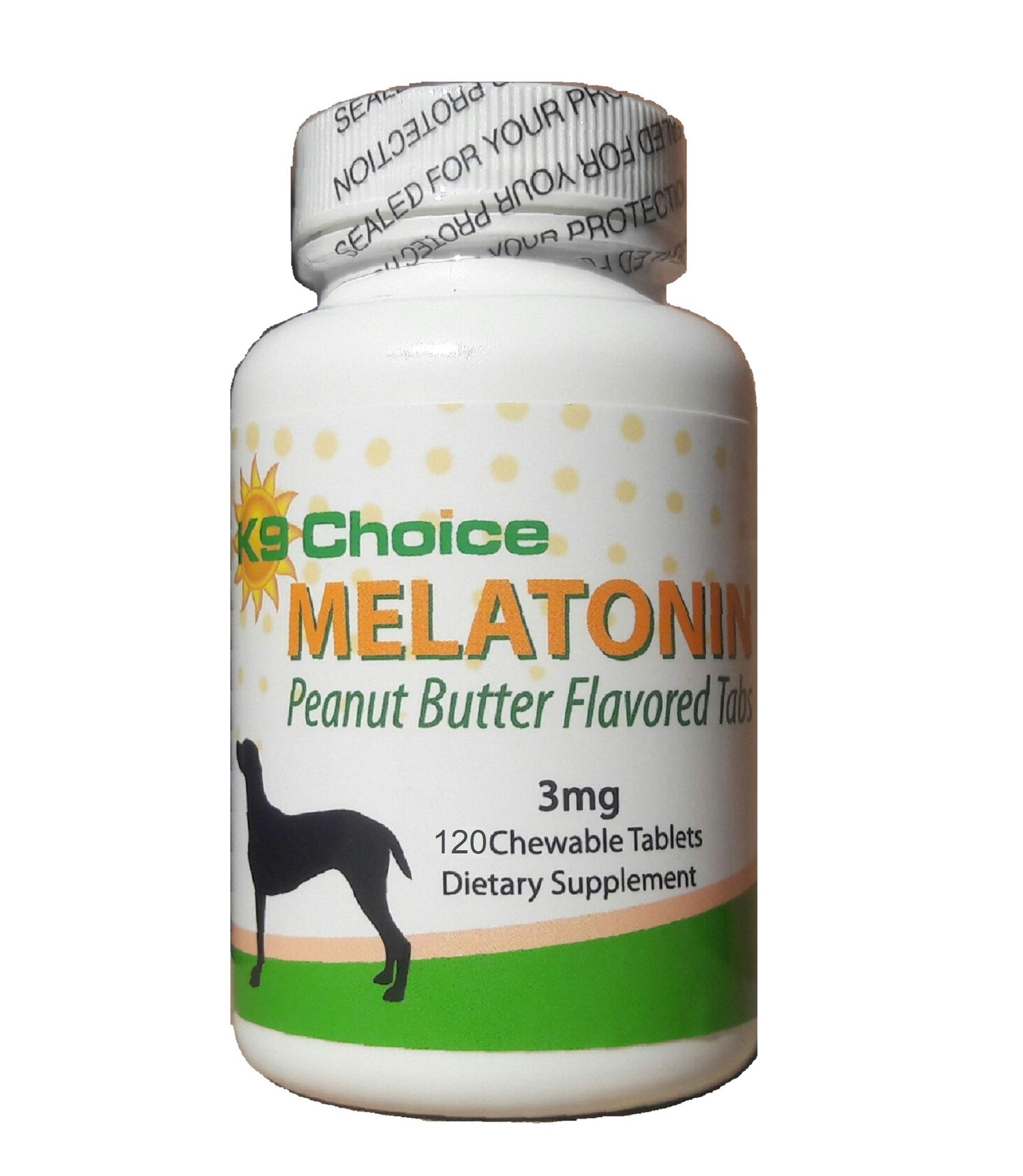 K9 Choice Melatonin for Dogs 3 mg Chewable Peanut Butter Flavor 120 Tabs by K9 Choice