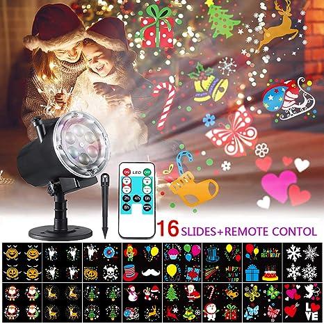 Bosunny Proyector Navidad LED, Lámpara de Proyección de Navidad para Exterior e Interior Luz de Proyección con 16 Diapositivas y RF Remote Ideal para ...