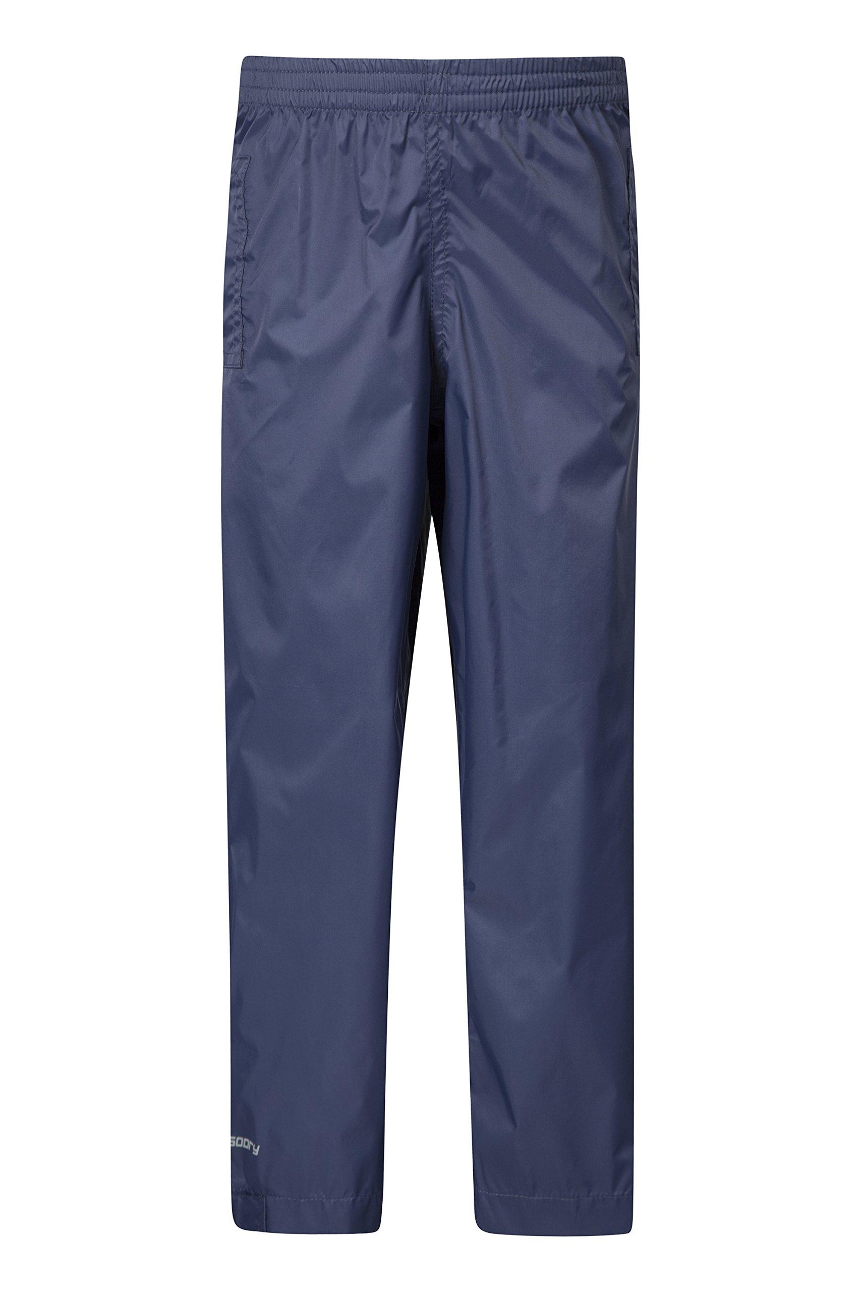 Mountain Warehouse Pakka Kids Rain Pants -Waterproof Packable Bottoms Navy 11-12 years