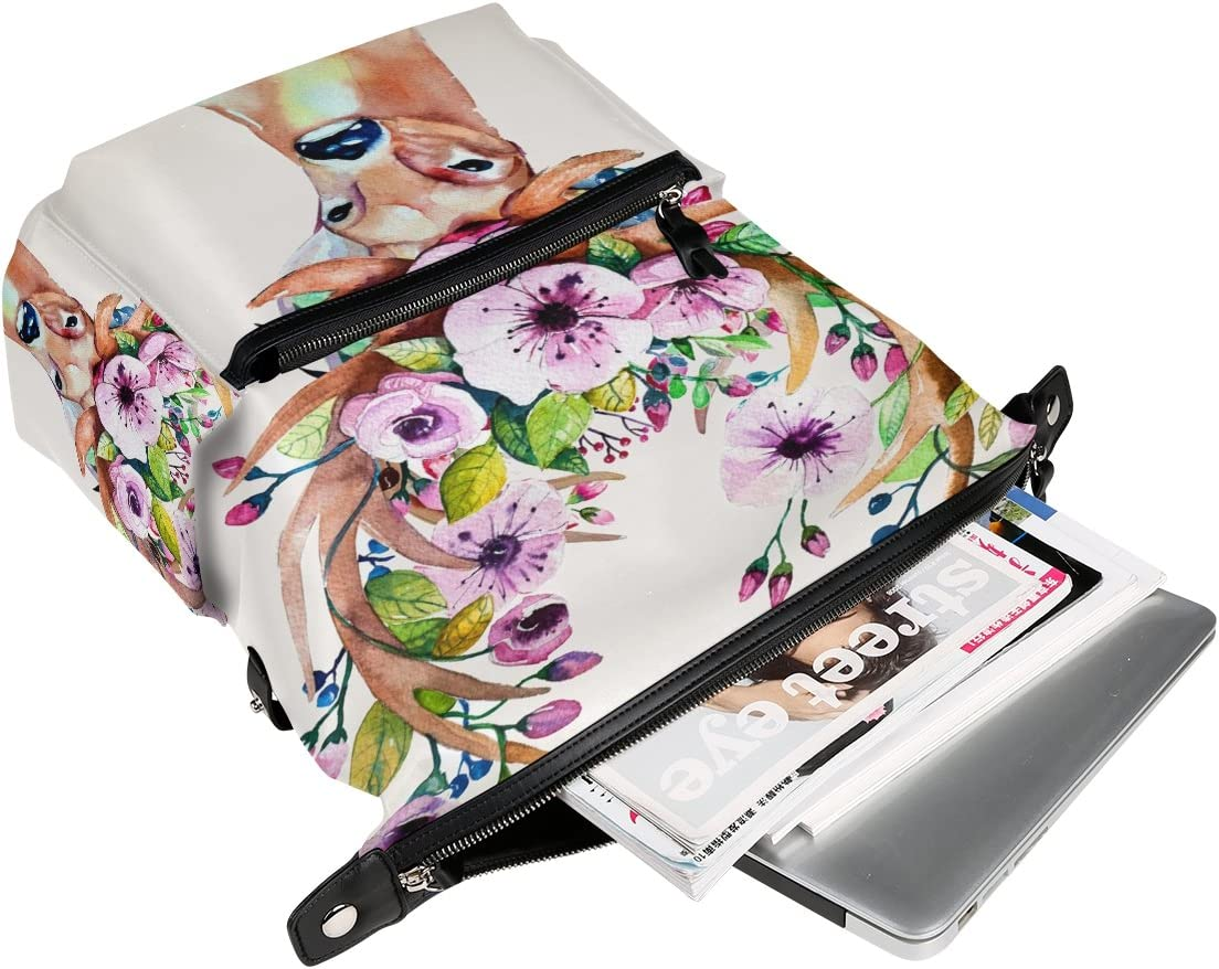 Laptop Backpack Lightweight Waterproof Travel Backpack Double Zipper Design with Peach Love Deer School Bag Laptop Bookbag Daypack for Women Kids