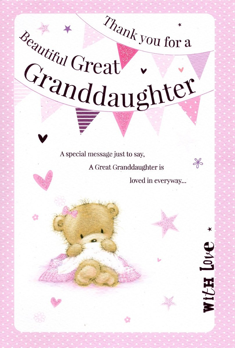 Congratulations on the birth of your great granddaughter modern thank you for a beautiful great granddaughter greeting card birth of baby girl 7393 kristyandbryce Images