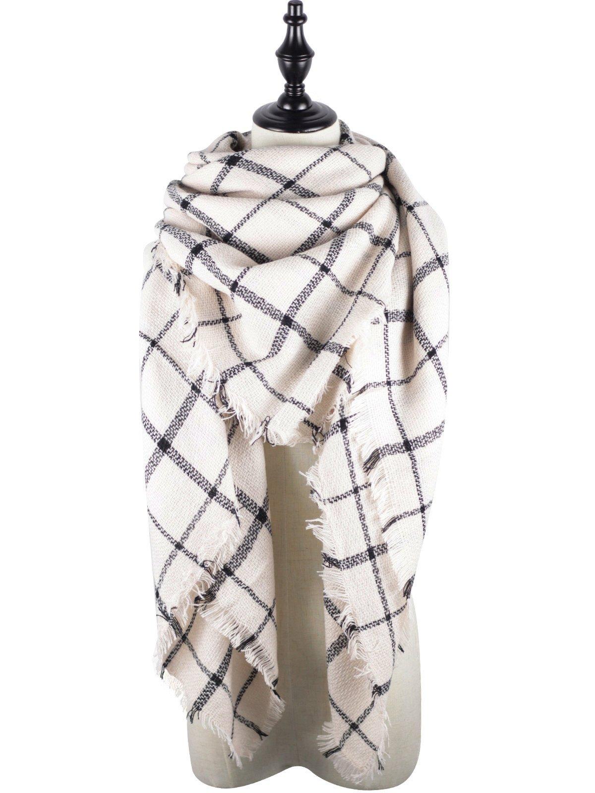 Zando Stylish Fall Winter Scarf Large Thick Wrap Cotton Oversized Scarf Women Tartan Plaid Blanket Scarf Cape Scarfs for Women A Beige Black Stripe Scarf