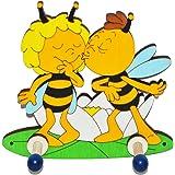 Garderobenhaken - die Biene Maja und Willi gibt einen Kuß - aus Holz - für Kinder mit 2 Haken - Kinderzimmer Garderobe Kleiderhaken / Garderobenleiste Kindergarderobe Wandhaken Wandgarderobe - Bienen Honig