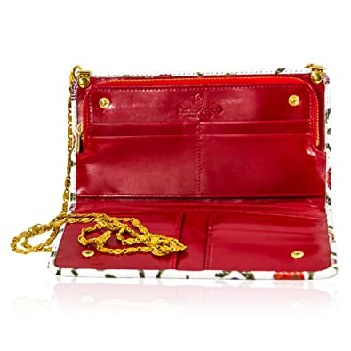 ab05727f4a Marino Orlandi Italian Designer Handpainted Roses White Leather Oversized  Clutch Wallet: Amazon.ca: Shoes & Handbags