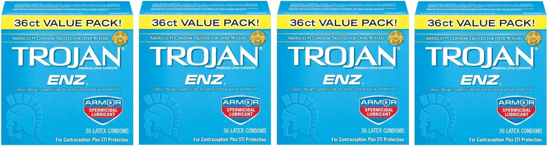 Trojan Enz Condom EBrdkF Enz Spermicidal, 36 Count (Pack of 4) by Trojan