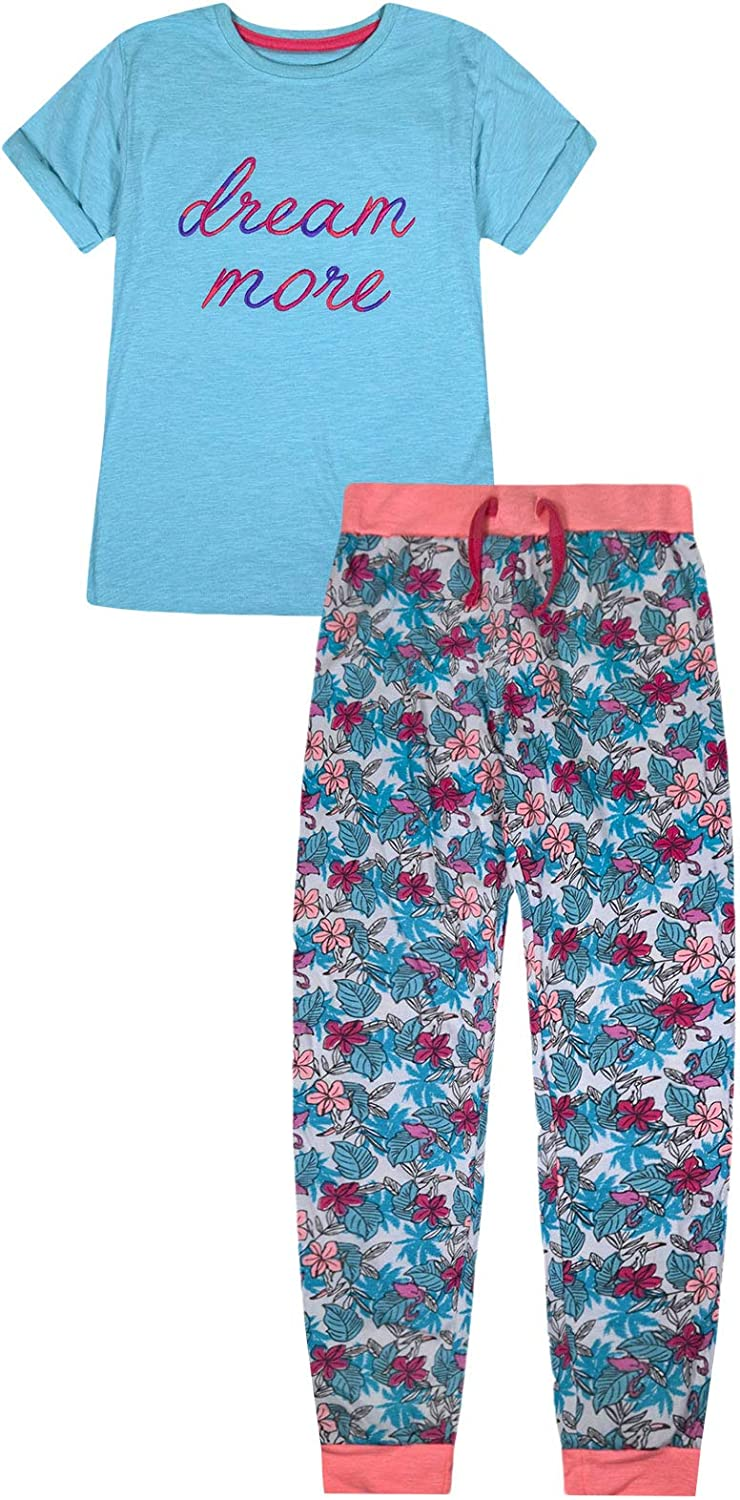 Floral T-Shirt Cotton Blend and Crew Neck Full Length Machine Washable jolly rascals Girls Pyjama Set with Pants