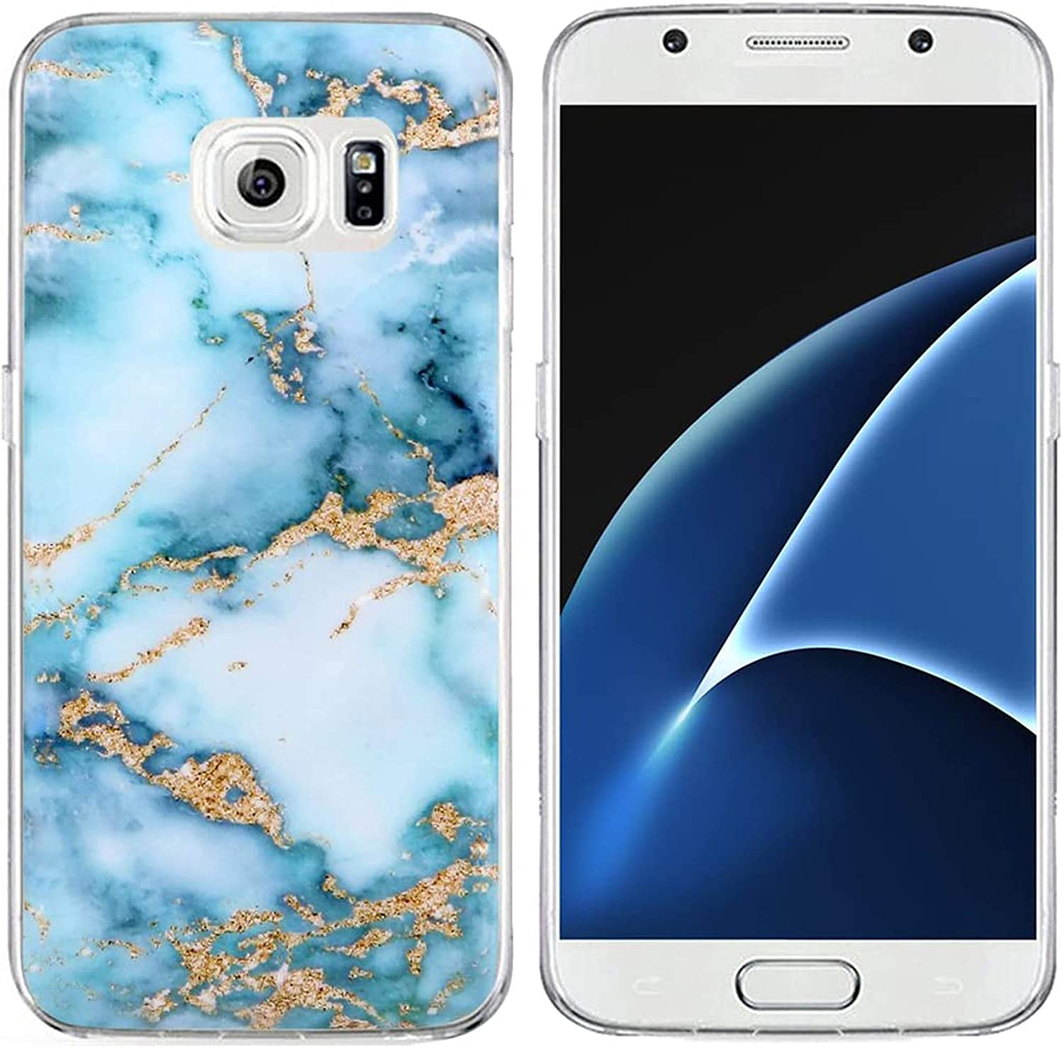 S6 Case Granite & Galaxy S6 Protector & MUQR Bumper Rubber Gel Silicone Slim Drop Proof Protection Cover Compatible with Samsung Galaxy S6 & Blue Marble Pattern