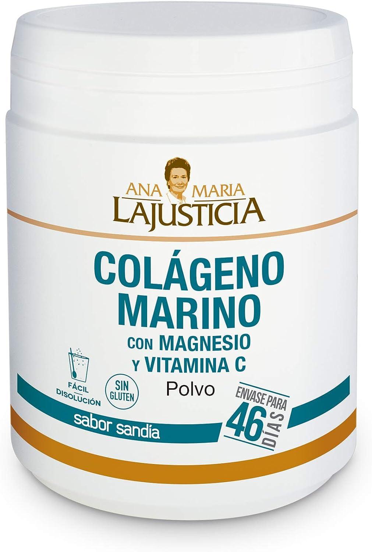 Ana Maria Lajusticia - Colágeno marino con magnesio y VIT C 350 g (sabor sandía) - Articulaciones fuertes y piel tersa. Regenerador de tejidos con colágeno hidrolizado tipo 1 y 2. Envase