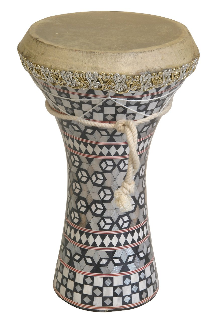 Mid-East Wooden Doumbek with Fixed Goatskin Head, Mosaic Body, Medium, 7.5-by-12-Inch WDEM
