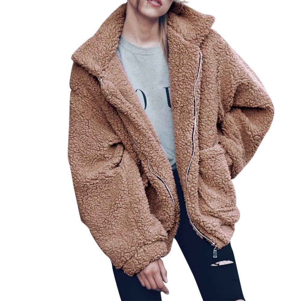 Keepmove Women's Winter Warm Faux Shearling Coat Casual Jacket Parka Outwear Overcoat Khaki by Keepmove