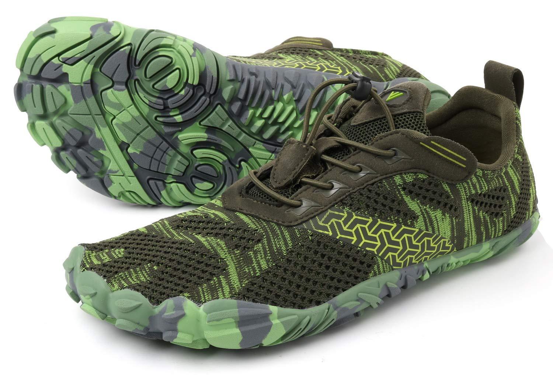WHITIN Men's Cross-Trainer | Barefoot & Minimalist Shoe | Zero Drop | Wide Toe Box | Five Fingers | Gym Fitness Workout Trail Running | Male Green | Size 8