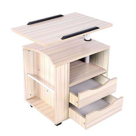Mesita de noche funcional ajustable Emall Life, de madera con cajones, ruedas y estante