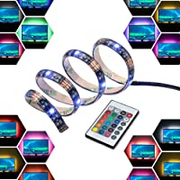 LED Light Strip Bar USB 2M 12V Bias Backlight RGB Light with Remote Control IP65 Waterproof, 50cm*4 Strips for TV Screen…