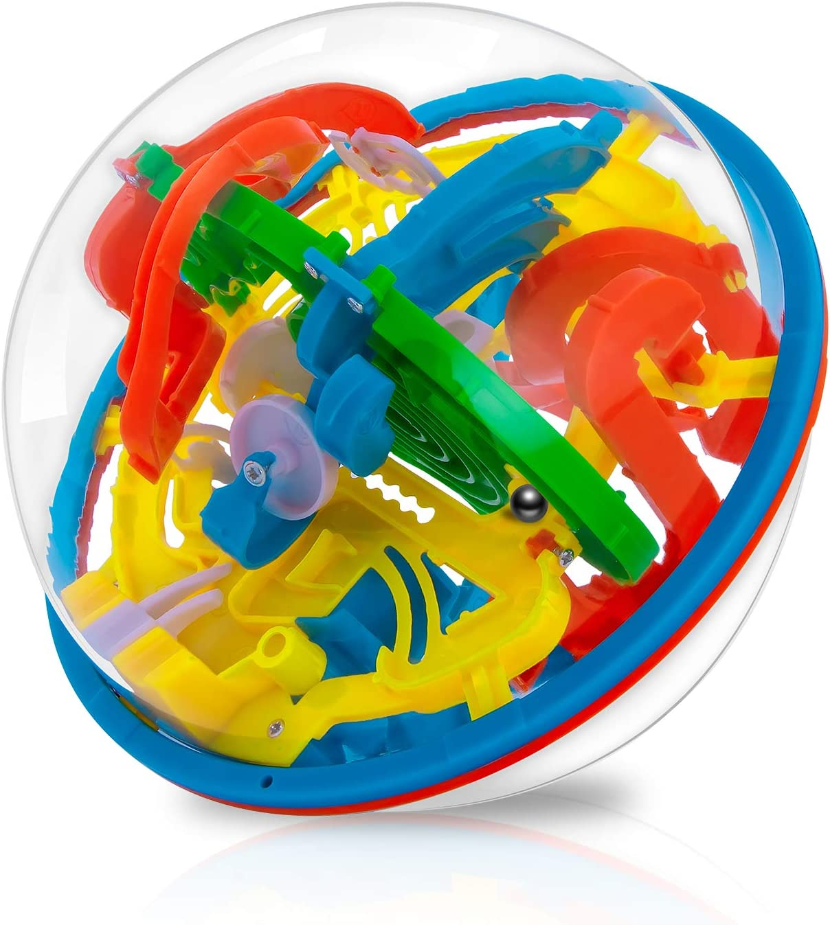 Maze Ball - WETONG 3D Puzzle Ball Games Toys for Kids (6.3'') with 118 Challenging Barriers Education 3D Labyrinth Ball Magical Maze Ball Brain Teasers Puzzles Games