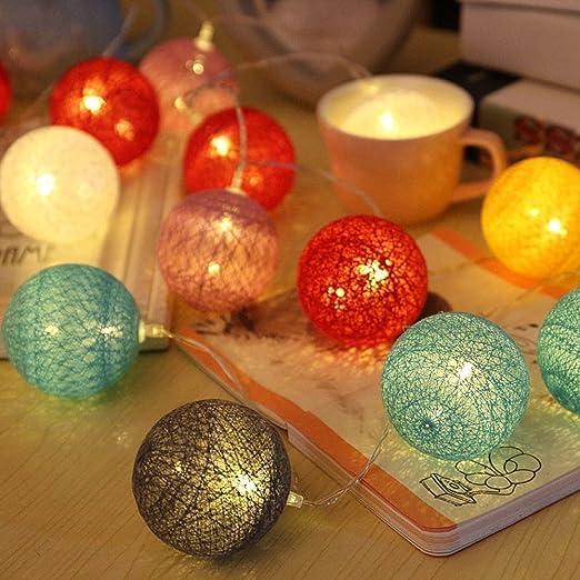 Bolas de algodón LED cadena luz - ELINKUME 20LED RGB linterna ...
