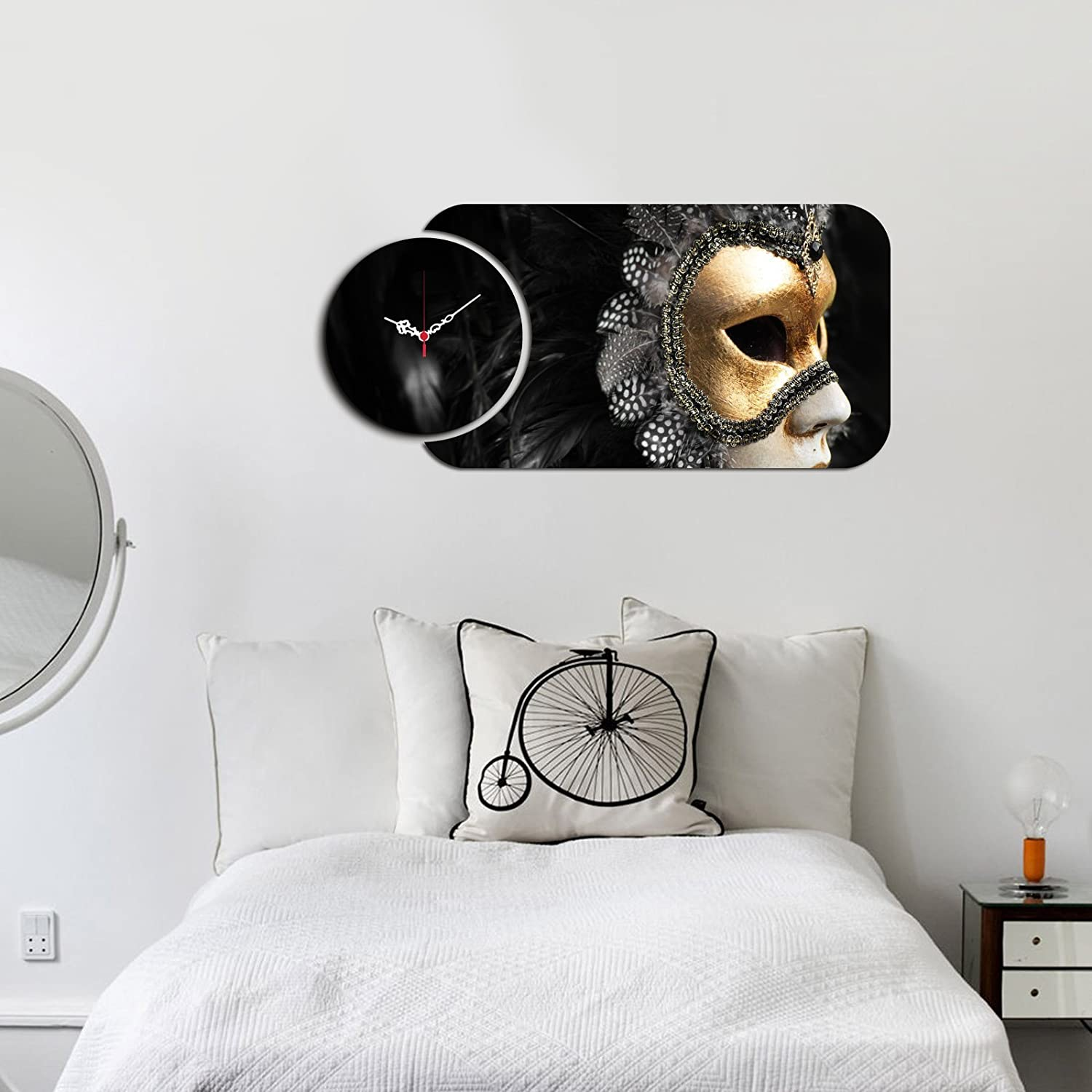 Dorm LaModaHome MDF Real Running Clock 27 x 13 Size Black Swan Mask with Feathers - Wall Art Hanging for Living Room Children/'s Room 238HMA5146 - Wall Art Hanging for Living Room Childrens Room Size Bedroom Ready to Hang 27 x 13