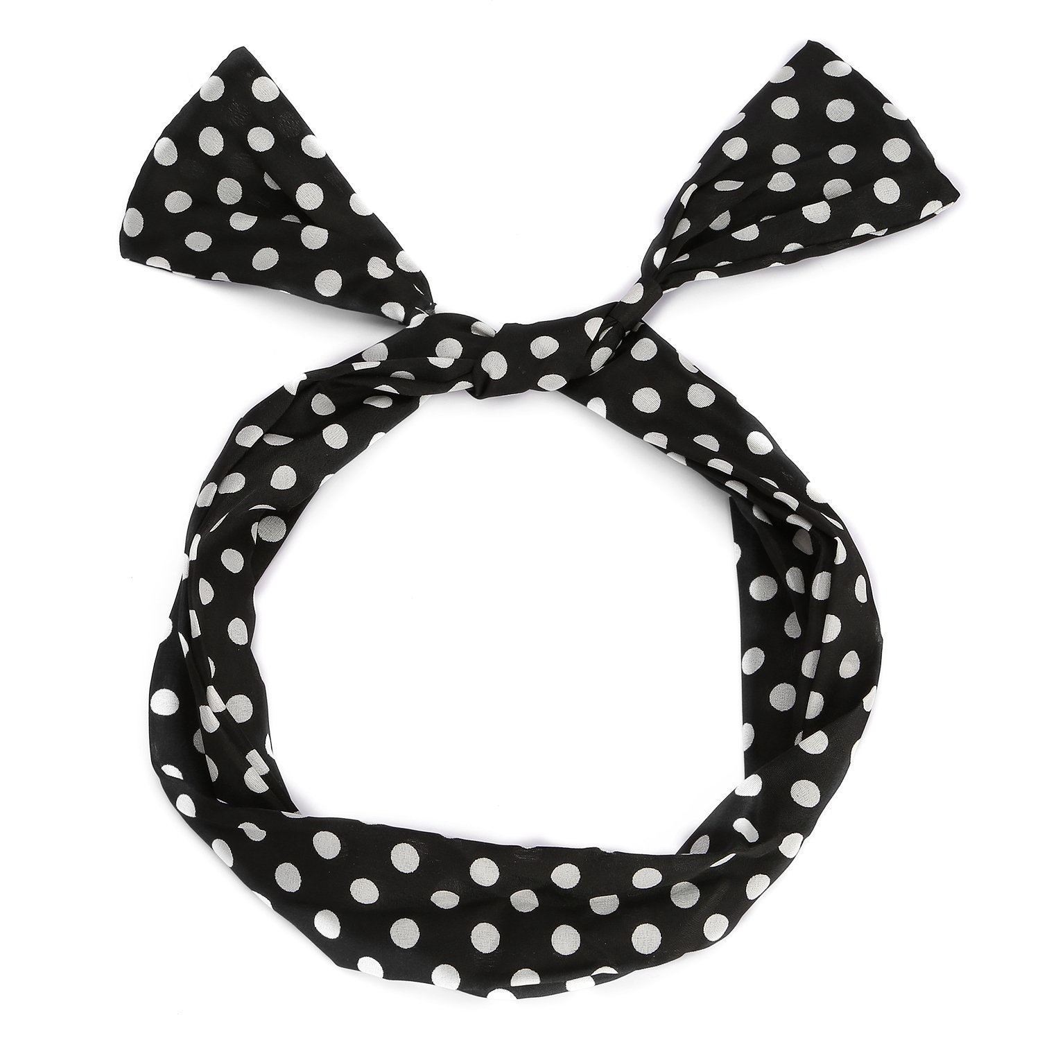 UTOVME Fashion Polka Dots Bowknot Headbands Wired Wrap Elastic Hair Clasp, Black