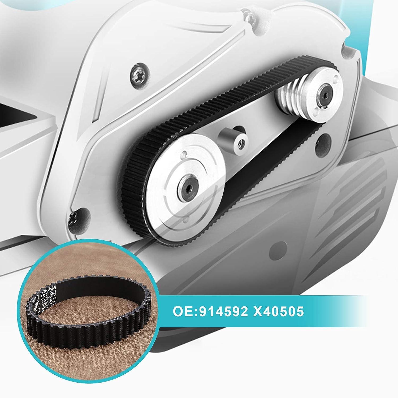 2 x HTD225-5M 914592 Cinghia di trasmissione per piallatrice in gomma 45 denti compatibile con Black?Decker SR600 SR600K KW750 X40505 cinghia dentata ad anello chiuso