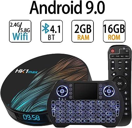 Android TV Box 9.0, RK3318 Smart TV Box 2 GB 16 GB Soporte 2.4 G 5.8G WiFi Bluetooth 4.1 con Mini Teclado retroiluminado Ethernet LAN 3D 4K Video Android TV Player Google