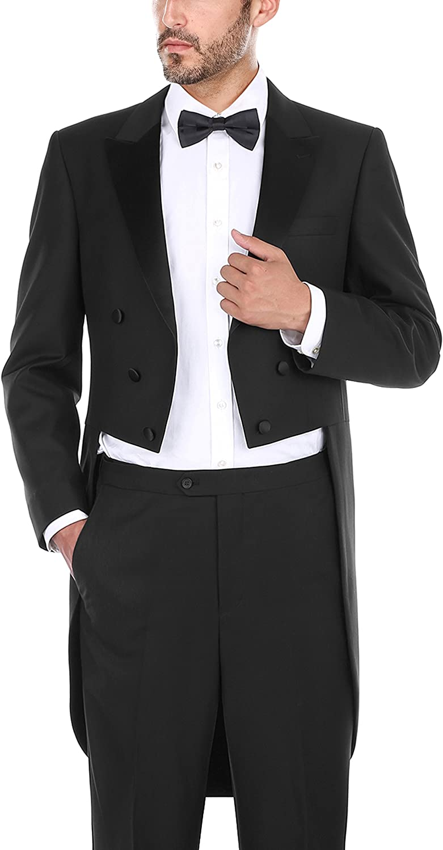 CHAMA 2 Piece Men's Classic Fit Black Tuxedo Tailcoat Tail Coat Suit, Suit Tuxedo Jacket Blazer, Suit Tuxedo Pants