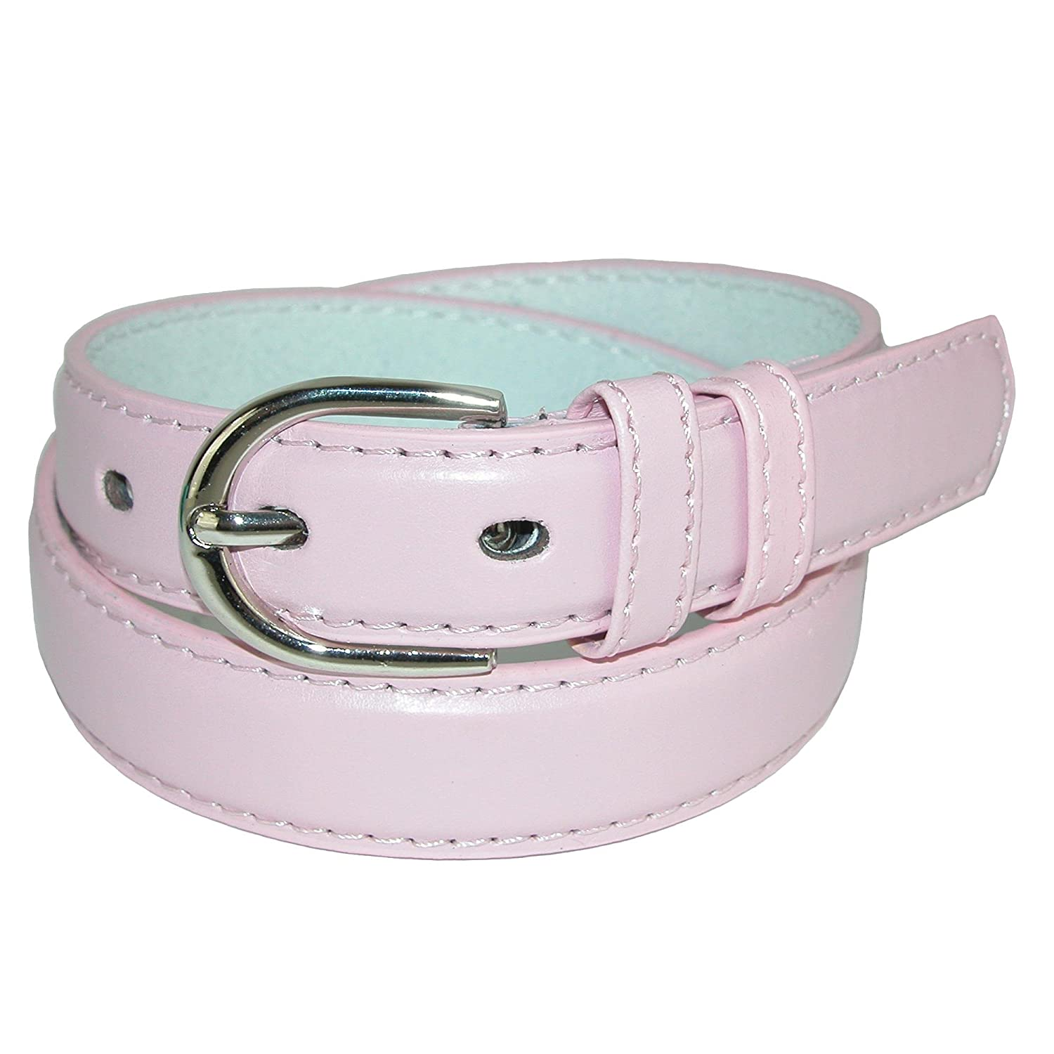 CTM® Kid's Leather 1 inch Basic Dress Belt, Small, Light Pink BB-189-LTP-S