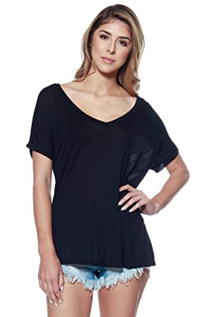 A+D Womens Soft Stretch Knit Vneck Top w/ Side Slit & Uneven Hem (Black, Large)
