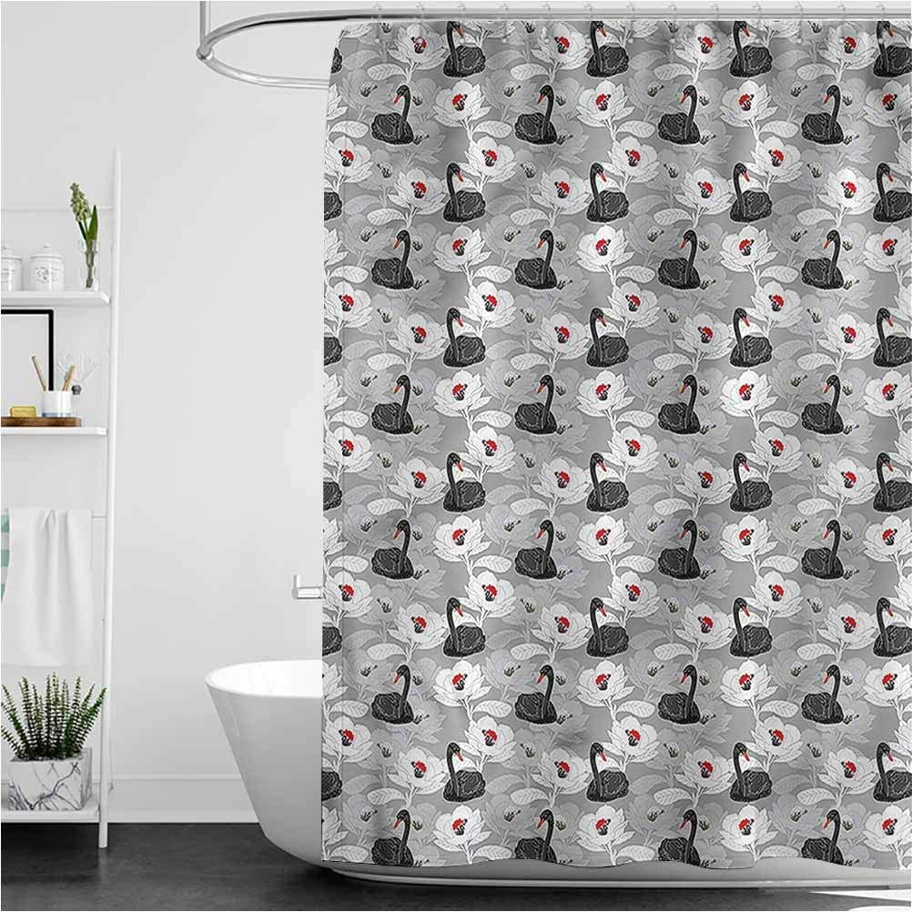 Swan Fun Shower Curtain Flowers Black Birds Art Water Repellent Modern Bathroom Curtain, 66 x 72 Inch