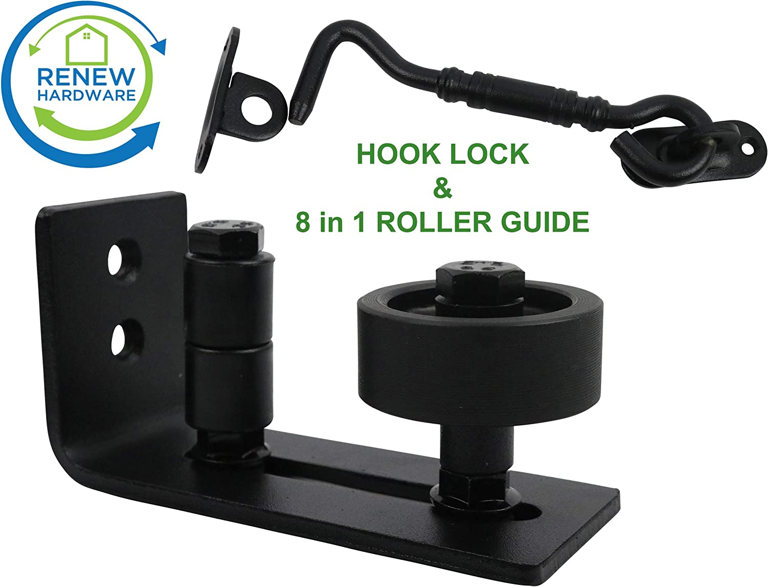 8 Setup Options Flush Design | for All Barn Doors Barn Door Floor Guide Stay Roller with Iron Hook Door Lock One Adjustable Wall Guide per Unit Ordered Bottom Bracket Sits Flat On Ground