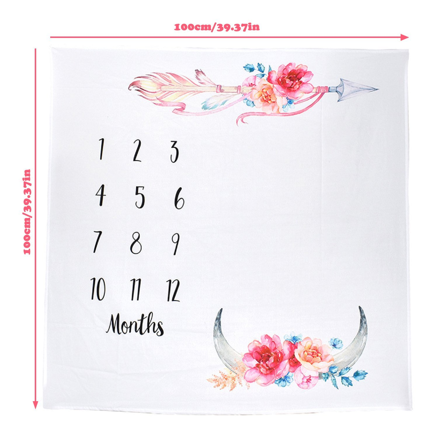 Baby Monthly Milestone Blanket Infant Photography Background Prop with Months Weeks First Year Growth Photo Shoots Props Mat with Wreath Frame Headbands Shower Gifts for Newborn Boy Girl Arrow
