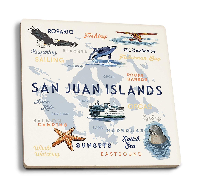サンファン諸島、ワシントン - タイポグラフィとアイコン。 4 Coaster Set LANT-81728-CT 4 Coaster Set  B07HFKX3QM
