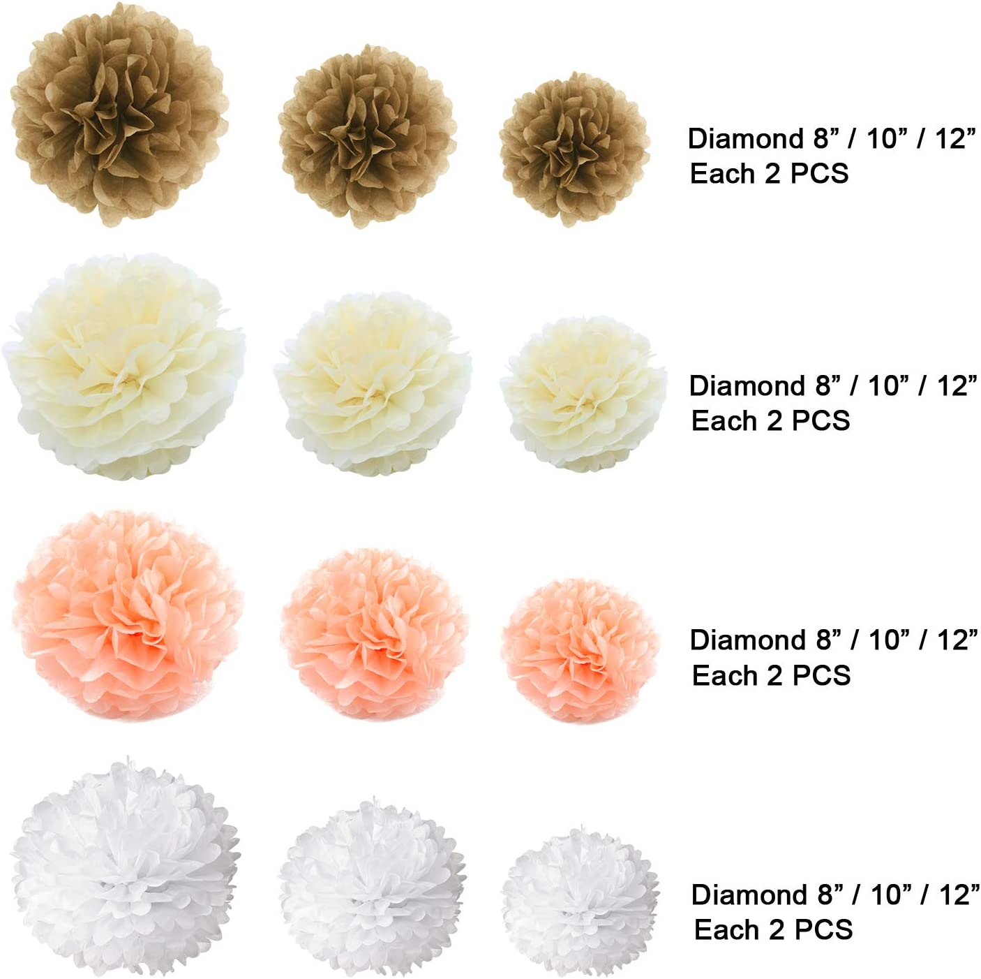 Champagne and Peach Mix 8,10,12 With 4 Colors Gold Fortune 24PCS Party Tissue Paper Pom Poms Kit Flower Ball for Wedding Birthday Baby Shower Bachelorette Nursery Decor and Party Outdoor Decora