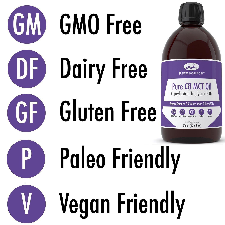 C8 MCT Aceite Puro   Produce 3 X Más Cetonas Que Otros MCT Aceites   Triglicéridos de Acido Caprílico   Paleo y Vegano Amistoso   Botella Sin BPA ...