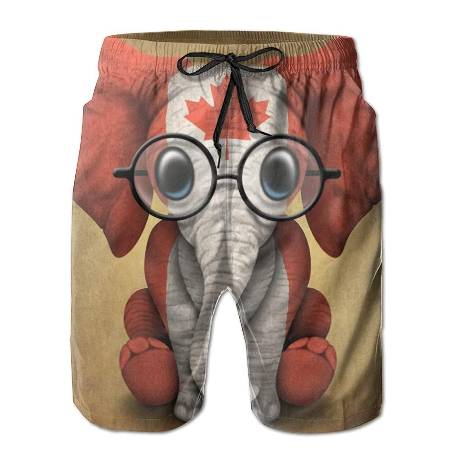 crystars Men's Baby Elephant Glasses Canadian Flag Fashion Beach Pant Tide Stamp Shorts XX-Large by crystars