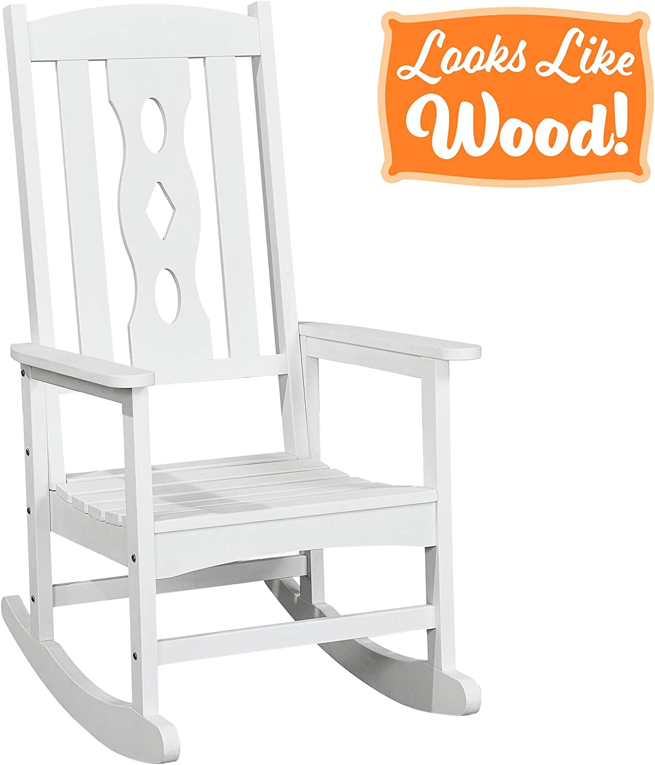 PolyTEAK Poly Outdoor Rocking Chair, Powder White Adult-Size, Weather Resistant, Porch and Patio Rocker