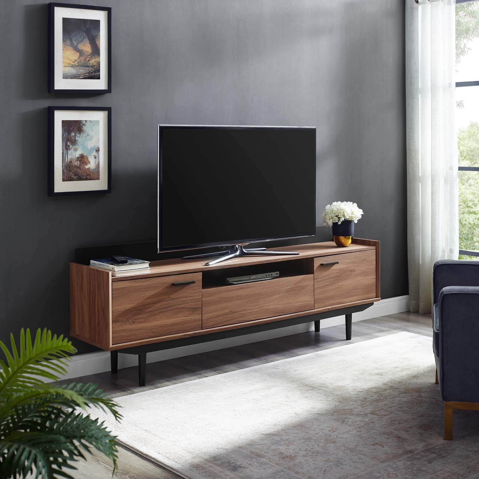 Modway Visionary 70'' Mid-Century Modern Low Profile Entertainment TV Stand in Walnut Black by Modway